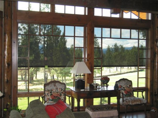 Oasis® 2700 Exterior Solar Screen Window Shades interior view.